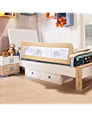 Baby BBZ 59inch Bed Rail - Single Foldable Safety Bedrail with Ventilated Mesh for Toddlers - Queen Size Bed Guard for Kids - Elephant Print - Safe Sleep (Beige Color)