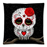 Cute Red Day of the Dead Sugar Skull Owl Stars Zippered Pillow Case 20x20 (two sides)
