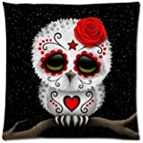 Cute Red Day of the Dead Sugar Skull Owl Stars Zippered Pillow Case 18 x 18 Inches