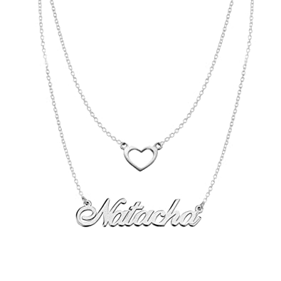 a69a95627a605 Ouslier 925 Sterling Silver Personalized Double Chain Name Necklace with  Heart Pendant Custom Made with Any Name