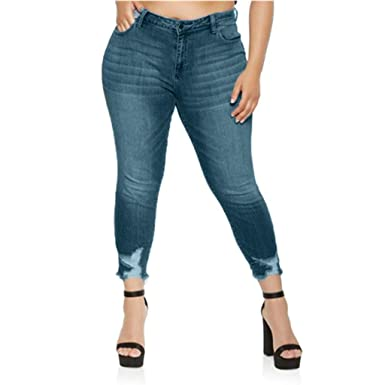 17ee3158ae5 Mid Waisted Ripped Jeans Women Plus Size Hole Denim Jeans Destroyed Pants