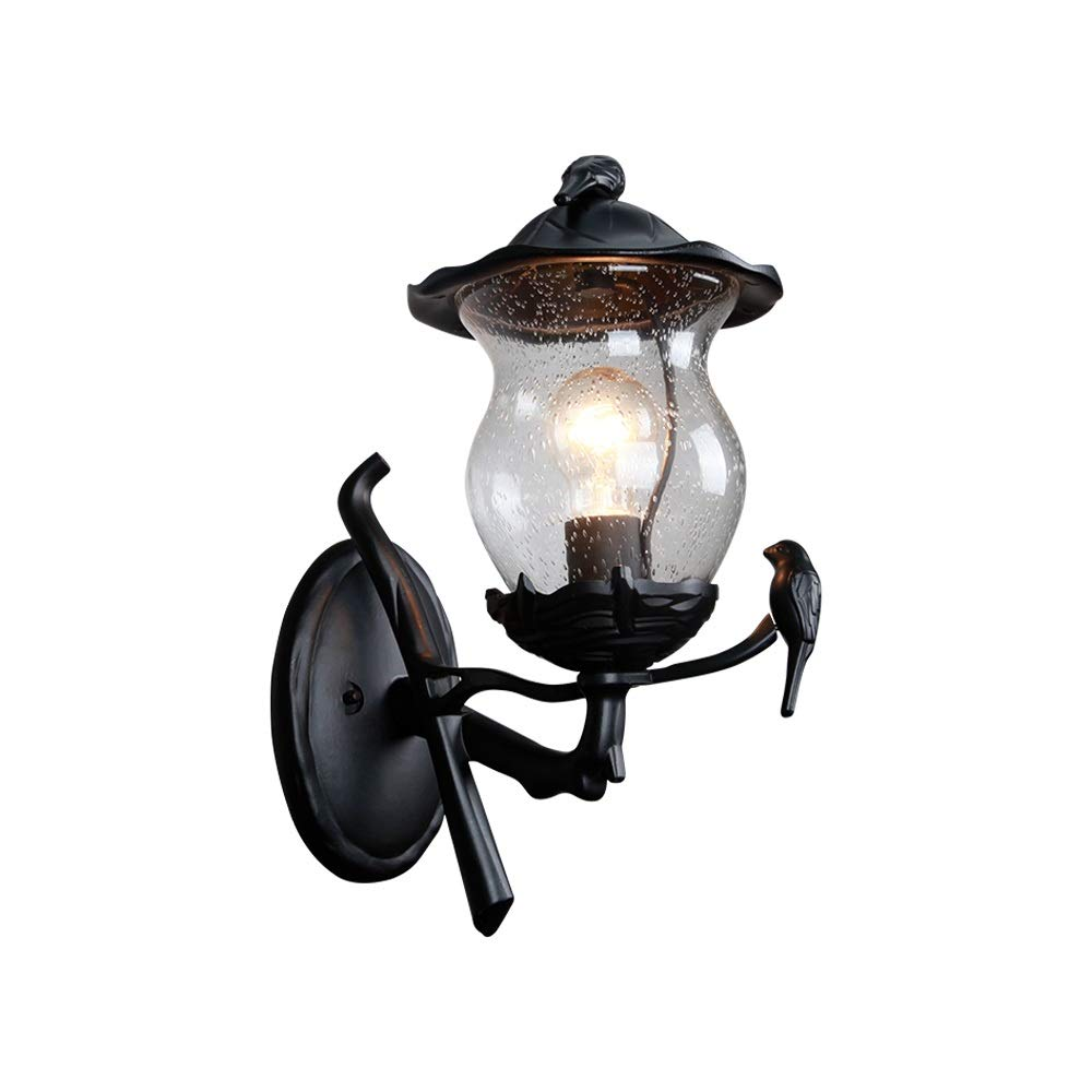 KMYX Transparent Glass Outdoor Lantern Antique American Retro Garden Post Wall Light Bollard Exterior IP55 Waterproof Terrace Residential Gallery Wall Lamp by KMYX