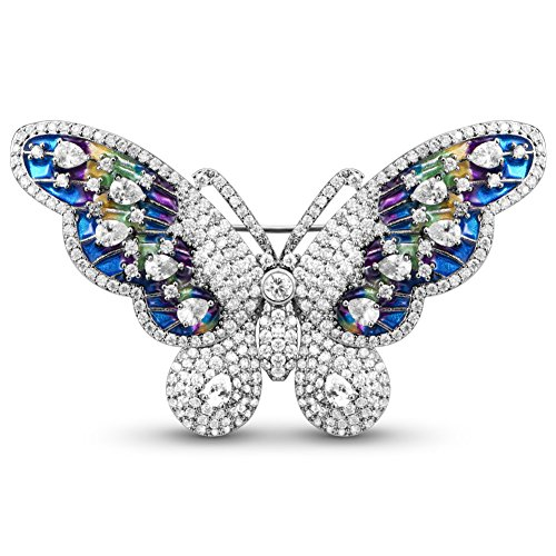 Sweetiee Platinum Plated Brooch, Micro Pave AAA Zirconia Enameled Butterfly, Colorful, (Enameled Butterfly Brooch)