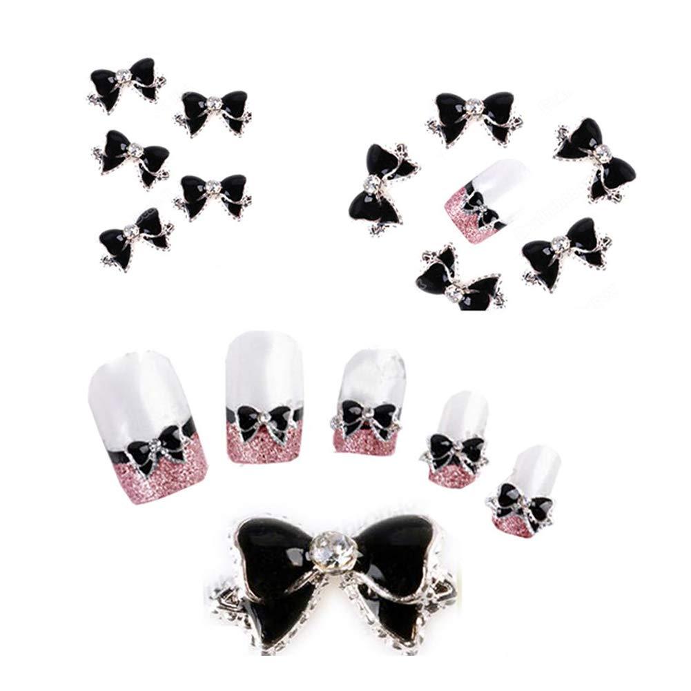 Hilai - Corbata de uñas 3D decorativa, diseño de lazo, color negro ...
