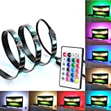 Bias Lighting for HDTV USB Powered TV Backlighting, Home Theater Accent 35.4'' Lighting Strip With Remote Control, Multi Color RGB LED Neon Accent TV Lighting for Flat Screen TV OC Accessories