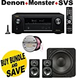 Denon AVRX3200W 7.2 Channel Full 4K Ultra HD A/V Receiver with Bluetooth and Wi-Fi + SVS Prime Satellite 2.1 High-Grade Polished Piano Black Finish System + Monster - Platinum XP Clear Jacket MKIII 50' Compact Speaker Cable - Clear/Copper Bundle