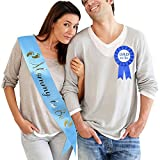 TTCOROCK Light Blue Baby Shower Sash DAD to Be Tinplate Badge Kit Baby Shower Party Gender Reveals Party Gifts