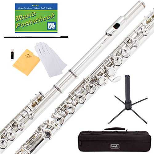 Mendini Nickel Silver Closed Hole C Flute with Stand, 1 Year Warranty, Case, Cleaning Rod, Cloth, Joint Grease, and Gloves - MFE-N+SD+PB