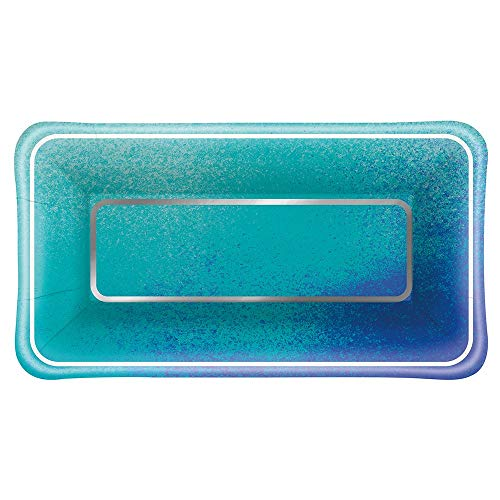 Unique Foil Ocean Blue Scallop Rectangle Paper Appetizer Plates - Rectangle Scallop