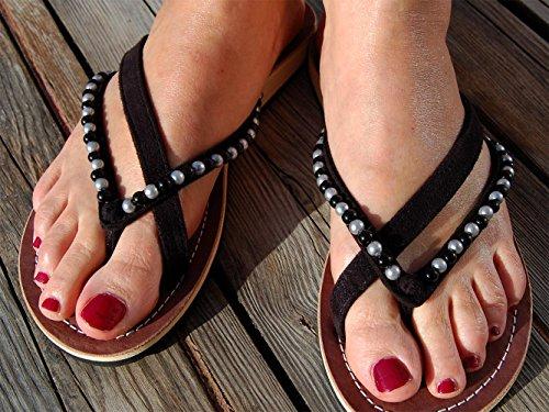 SEESTERN Damen Leder Zehentrenner Zehensandale Zehensteg Sandalen in Größe 36-44 Schwarz_Silber