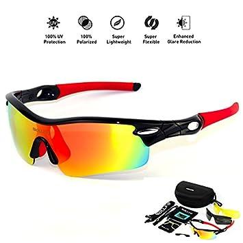 HONCENMAX Gafas de Sol Deportivas Polarizadas Protección UV400 para Hombres Mujeres Ciclismo Equitación Corriendo Pescar Gafas