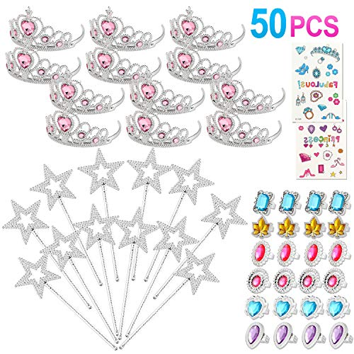 50 Pcs Princess Pretend Jewelry Toy Princess Crowns Wands Rings Princess Dress Up for Girl Princess Party Supplies (Supplies Crown Princess)