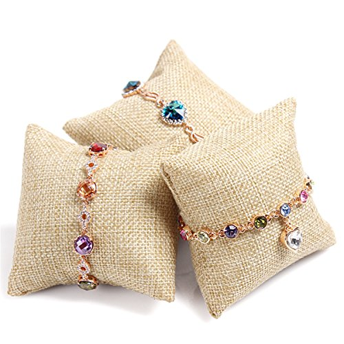 JJG 10 Pcs Burlap Pillow Bracelet Watch Jewelry Display Stand Organizer 3.15x3.15''