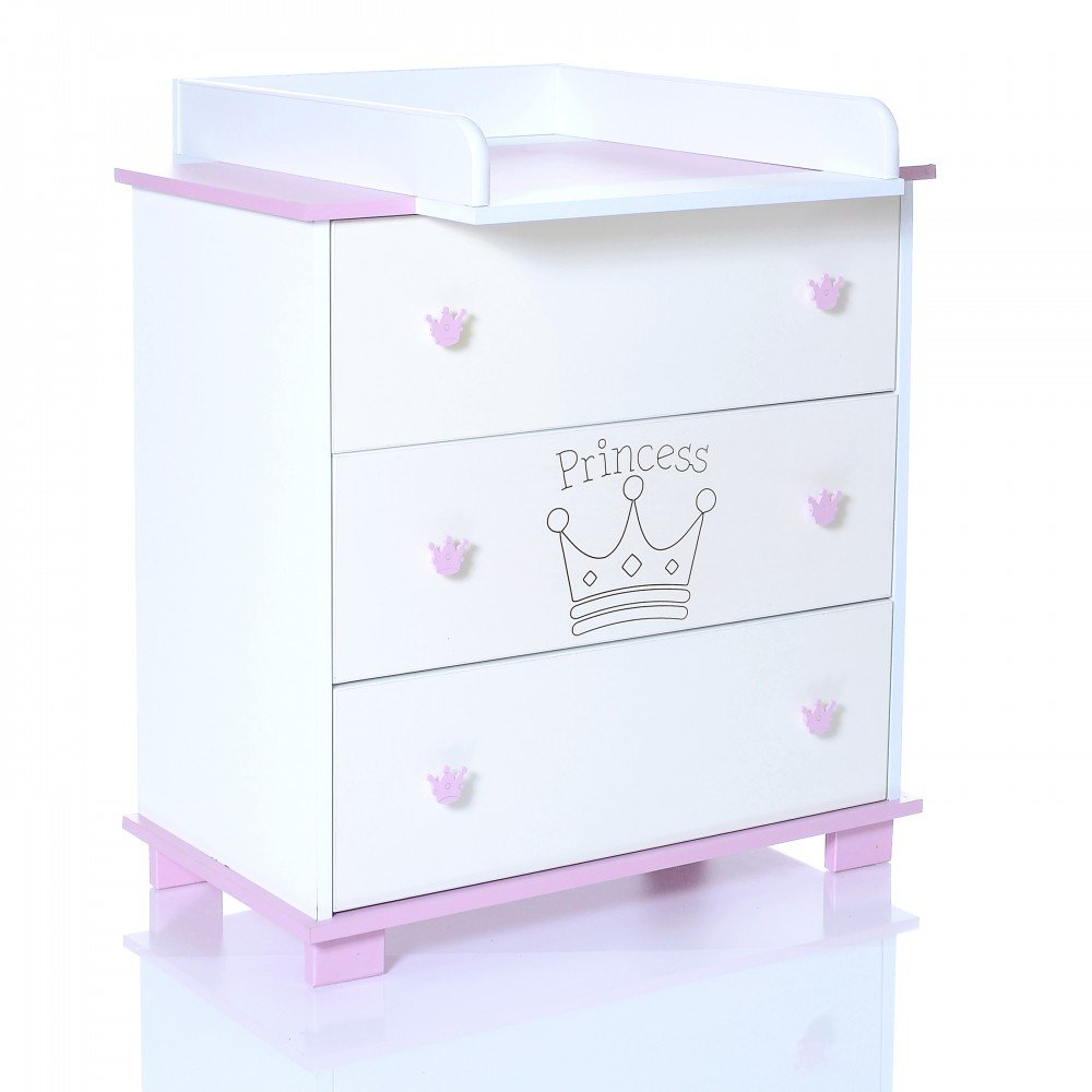 Baby Changing Chest Princess - Nursery Furniture Changer Unit With 3 Drawers - Baby Changing Table removeable LCP Kids 68