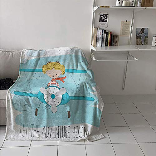 Maisi Throw Blanket Extra Large, Cute Girl Flying a Plane on Sky Cartoon Child Dream Imagination, Weave Pattern Extra Long Blanket 90x70 Inch Baby Blue Yellow Dark - Skies Planes Crimson