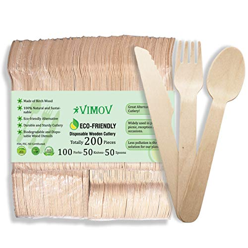 200PCS Wooden Disposable Cutlery Set - Compostable Flatware Utensil for Party Serving, Wedding, Family Events, BBQ - 100 Forks, 50 Knives and 50 Spoons ()