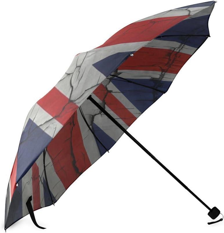 Custom British Flag Compact Travel Windproof Rainproof Foldable Umbrella