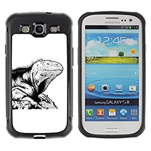 Hybrid Anti-Shock Defend Case for Samsung Galaxy S3 / Cool Lizard Tattoo