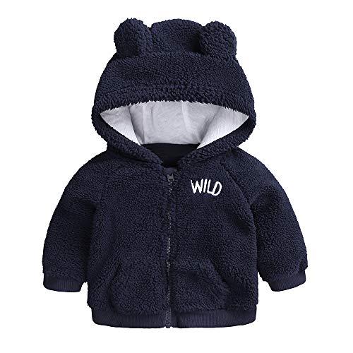 Newborn Infant Baby Boys Girls Cartoon Fleece Hooded Jacket Coat with Ears Warm Outwear Coat Zipper Up (0-3M, Navy Blue) (Newborn Boy Jacket)