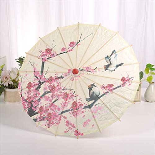 Classical Chinese Oil Paper Umbrella Bamboo Handle Silk Cloth Oriental Umbrella Plum Blossom Craft Decor for Cosplay Drama Shows (As Shown)