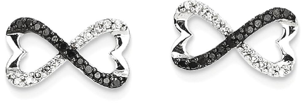 IceCarats 14k White Gold Black Diamond Infinity Heart Post Stud Ball Button Earrings / Love by ICE CARATS
