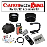 Deluxe Accessory Kit for Canon EOS Rebel T2i T3i T4i with Opteka Microfiber Deluxe Photo / Video Camera Gadget Bag, Opteka X-Grip Professional Camera / Camcorder Action Stabilizing Handle, Opteka .43x and 2.2x Wide Angle and Telephoto Lens Set and More!