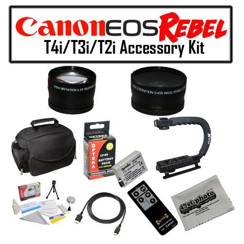 Deluxe Accessory Kit for Canon EOS Rebel T2i T3i T4i with Opteka Microfiber Deluxe Photo / Video Camera Gadget Bag, Opteka X-Grip Professional Camera / Camcorder Action Stabilizing Handle, Opteka .43x and 2.2x Wide Angle and Telephoto Lens Set and More! by 47th Street Photo