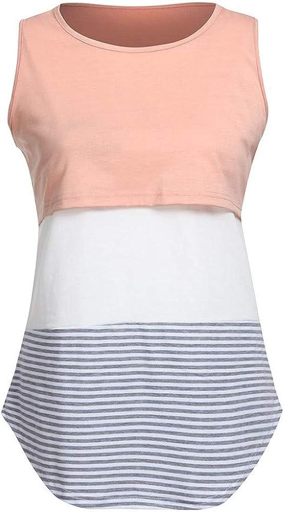 Damen Umstandsmode Streifen Mutterschafts Stillshirt Sommer Unterhemden Doppelschicht Pflege Wrap Schwangerschaftshirt Still Umstands-Top /Ärmellos Umstandsshirt Schwanger T-Shirt Nursing Stillshirt
