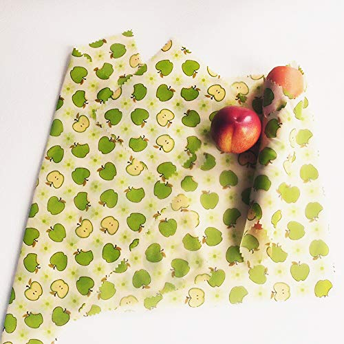 (UGOS Organic Beeswax Food Wraps - Reusable Bees Wax Paper Wrap, Assorted 4 Pack (Apples))