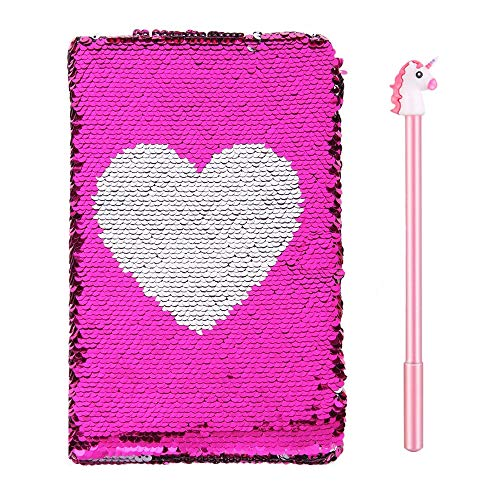 Magic Sequin Journal - Mermaid Reversible Sequin Notebook,Double Sided Flip Diary with Heart Pattern,A5 Notepad Birthday Gift for Girl School Office Stationery