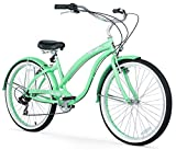 Firmstrong Bella Classic Seven Speed Beach Cruiser Bicycle, 26-Inch, Mint Green