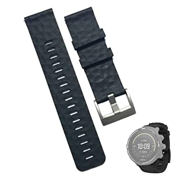 JTMM 24mm Negro ámbar Amarillo Correas de Goma Suave y Sedosa Reloj Bandas Banda de Reloj