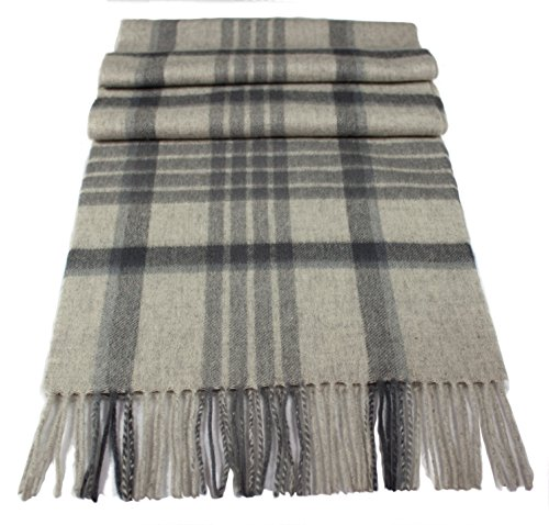 Pure 100% Wool scarf. Highest quality workmanship and material. Soft, brushed new wool. Classic design. Various colors available. (beige/burgundy red/grey) (grey/natural white)