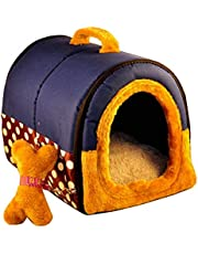 WER 2-in-1 Pet house and Portable Sofa Non-Slip Dog Cat Igloo Beds Warm Lovely Pet House Gift for Pet 3-Size Blue (M)