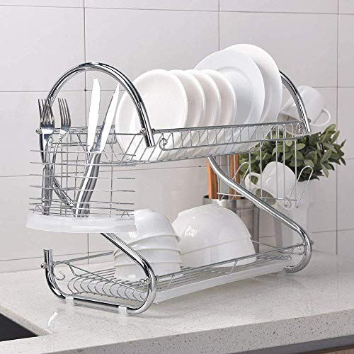 2 Tier Dish Drying Rack with Drain Board CERCHIO Dish Rack with Utensil Holder, Cutting Board Holder and Dish Drainer for Kitchen Chrome Organizer