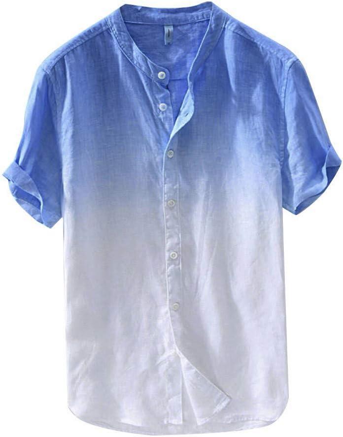 Sunnyuk Lazo de algodón Lino botón de Playa Tinte Manga Corta para ...