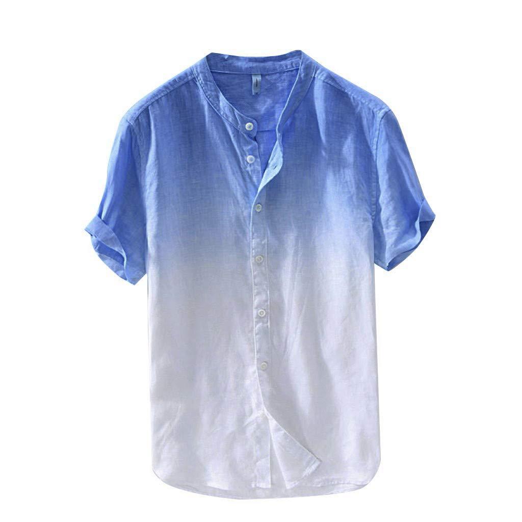 Fuibo V/êtements Lin Chemise Homme /Ét/é Chemise Col en V Shirt D/écontract/ée Manches Courtes Slim Fit Blouse Tops Confortable Respirant Bouton Down Blouse