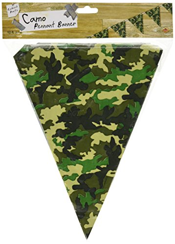 Beistle 50709 Camo Flag Pennant Banner, 10 by 12-Feet