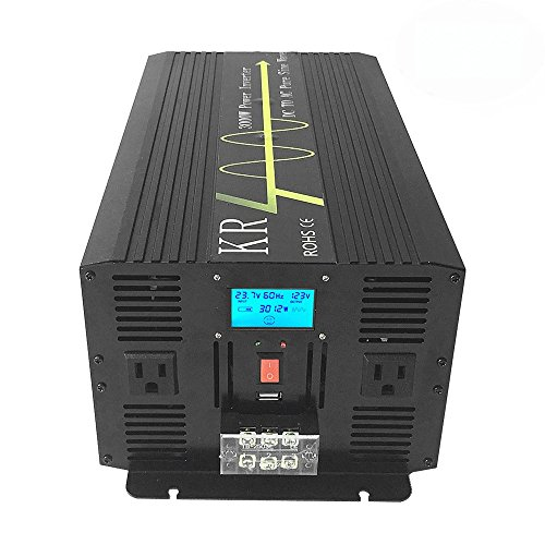 KRXNY 3000W High Compact Pure Sine Wave Inverter 24V DC to 120V AC Power Converter For Home Solar Power System Alumimum Case by KRXNY
