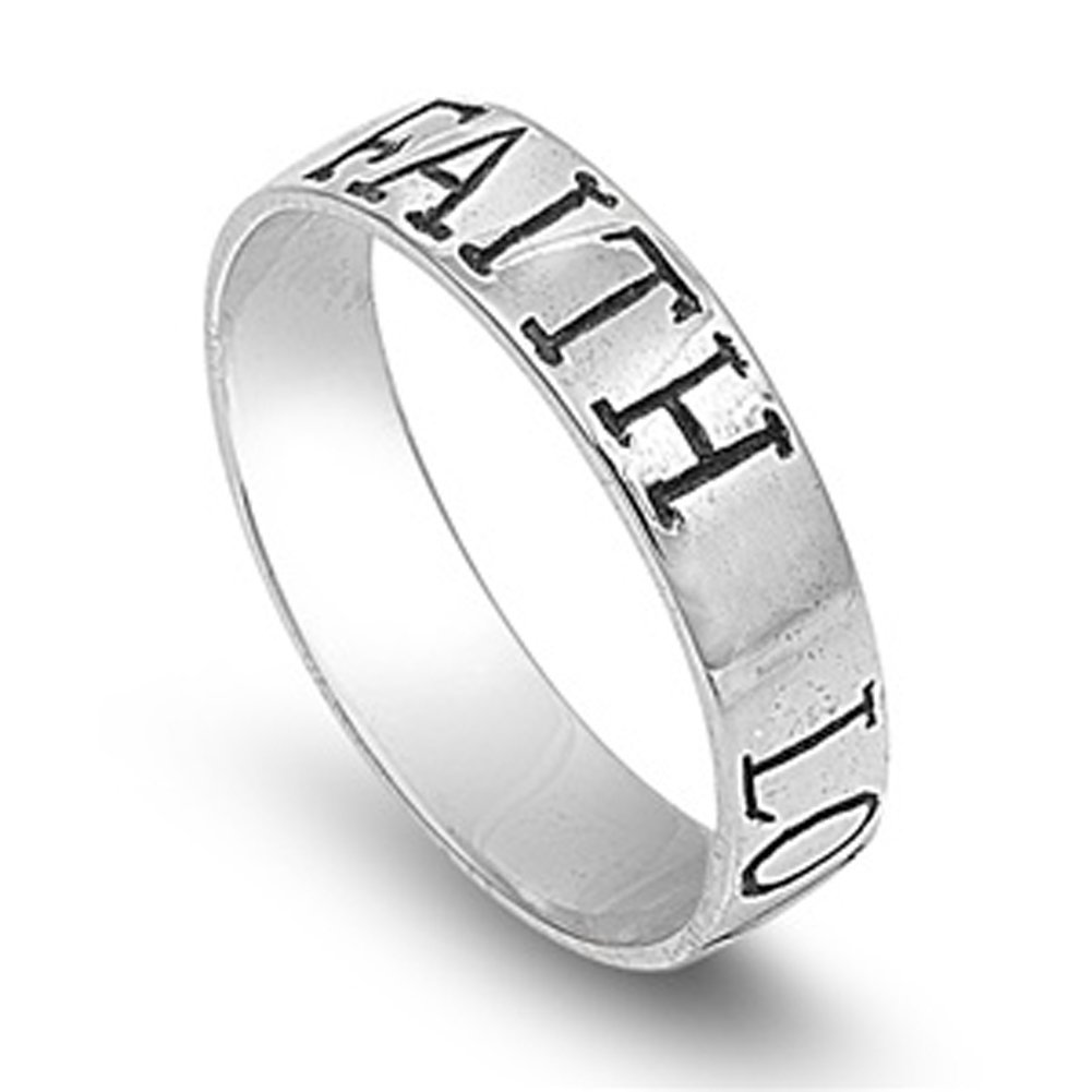 Sterling Silver Faith Love Hope Band Purity Promise Ring Designer 925 Size 8