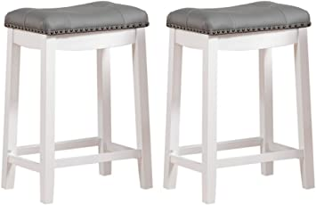 Angel Line Cambridge Bar Stools 24 Set Of 2 White With Gray Cushion Furniture Decor
