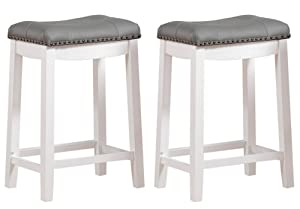 "Angel Line 43418-21 Cambridge bar stools, 24"" Set of 2, White with Gray Cushion"