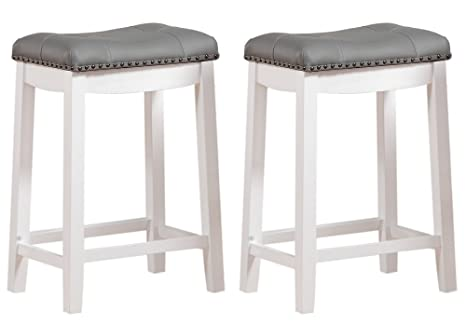 Incredible Angel Line Cambridge Bar Stools 24 Set Of 2 White With Gray Cushion Bralicious Painted Fabric Chair Ideas Braliciousco