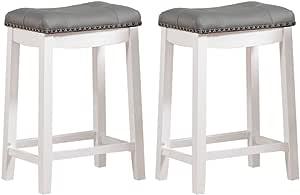 Angel Line Cambridge Bar Stools 24 Set Of 2 White With Gray Cushion Furniture Decor Amazon Com