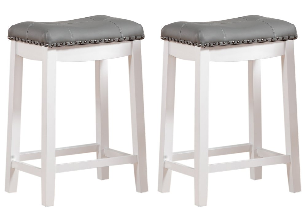 Angel Line Cambridge Padded Saddle Stool, White with Gray Cushion, 24'' H, Set of 2