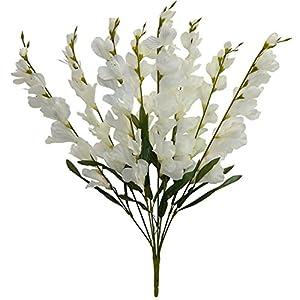 """Ella and Lulu Dessign 26"""" Tall Gladiolus x 8 Bush, One Size, Cream 18"""