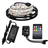 Firstsd 16.4Ft SMD 5050 RGB LED Strip Lights Waterproof IP65 with Remote Music Control Color Changing 300 LEDs Flexible Tape + IR Music Remote Controller + 12V Power Supply