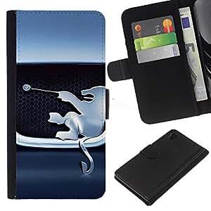 León Técnica Frente Figurita- la tarjeta de Crédito Slots PU Funda de cuero Monedero caso cubierta de piel Para Sony Xperia Z3 Plus / Z3+ / Sony E6553 (Not Z3)