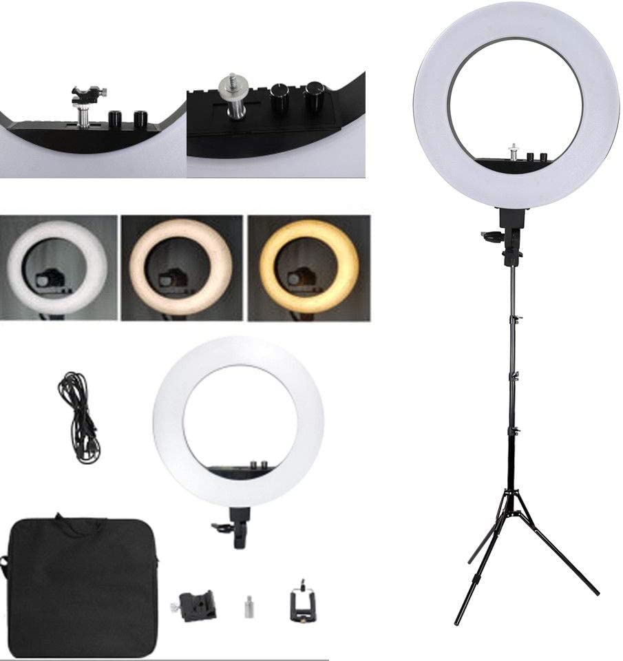 18 LED Ring Lights and 2m Light Stands US Standard Silver