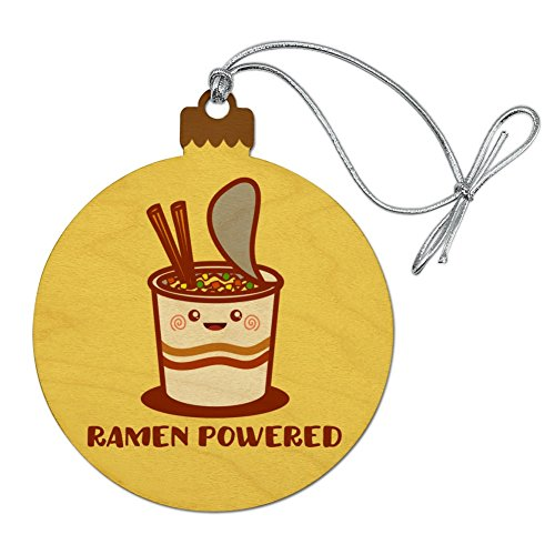(GRAPHICS & MORE Ramen Powered Noodle Soup Chopsticks Wood Christmas Tree Holiday Ornament )